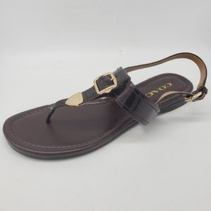 Coach Cassidy Brown Leather Slingback Sandals